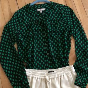 Button down black blouse with green spots